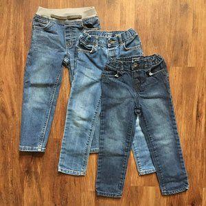 LOT 3 Pairs of Boys Jeans Blue Elastic waist Pockets SZ 4T